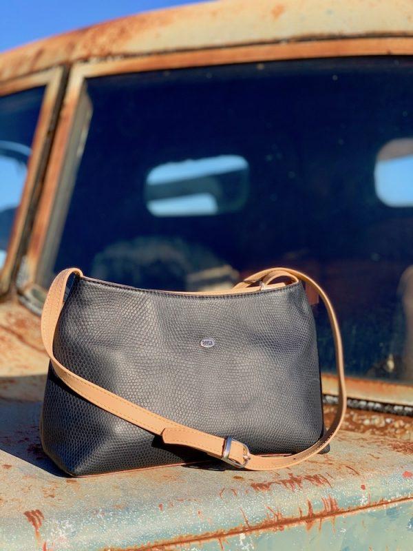 Navy & Tan Lizard Print Kangaroo Leather Alexandra Shoulder Bag