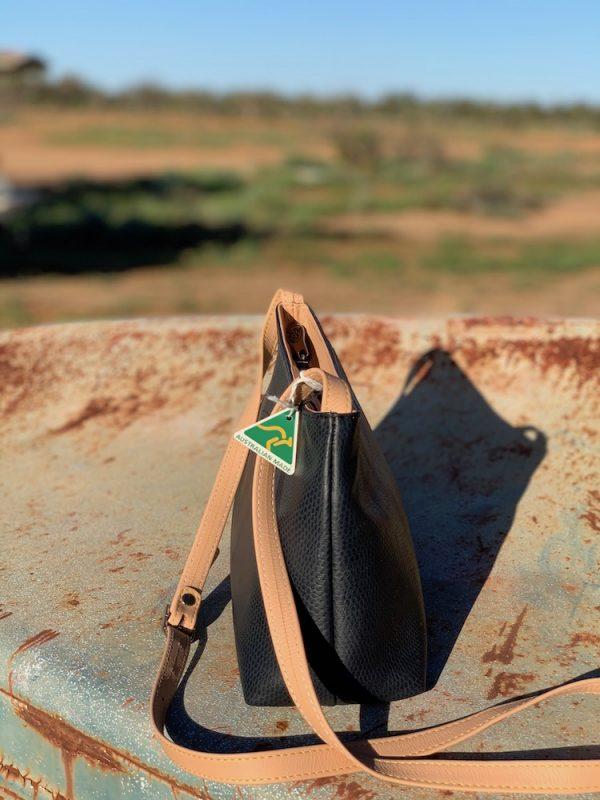 Navy & Tan Lizard Print Kangaroo leather Shoulder bag - Alexandra