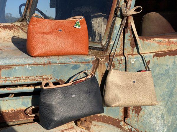 Orange, Elephant and Navy Lizard print Alexandra Shoulder bag - Kangaroo Leather