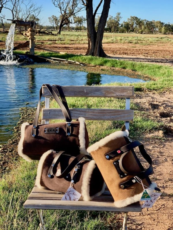 Bush Ugg - Merino Sheepskin - Barrel Bag - Bette - Chestnut & Chocolate small & medium