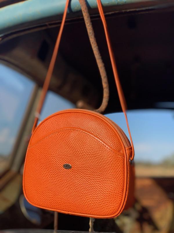 Australian made Orange Lizard print Kangaroo leather Shoulder bag