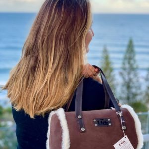 Bush Ugg sheepskin Barrel handbag - Bette in Chocolate.
