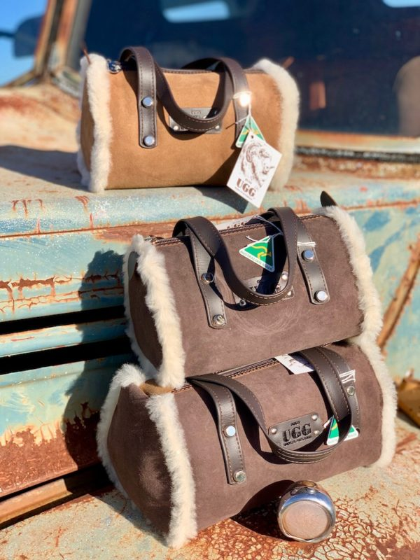 Bush Ugg - Merino Sheepskin - Barrel Bag - Bette - Chestnut & Chocolate